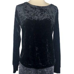 Black Velvet Sweatshirt Style Top
